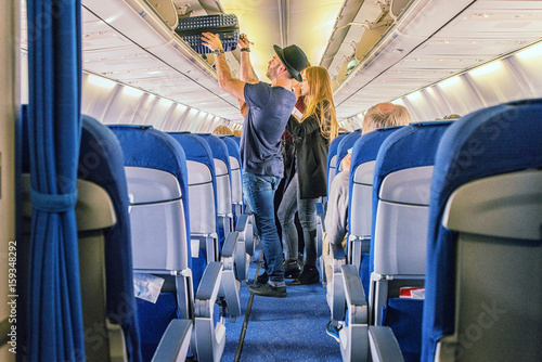 Tuinposter Commercial airliner cabin