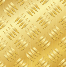 Diamond Metal Plate Seamless Vector Pattern. Corrugated Aluminum Sheet. Golden Metal Seamless Background. Vector Illustration.