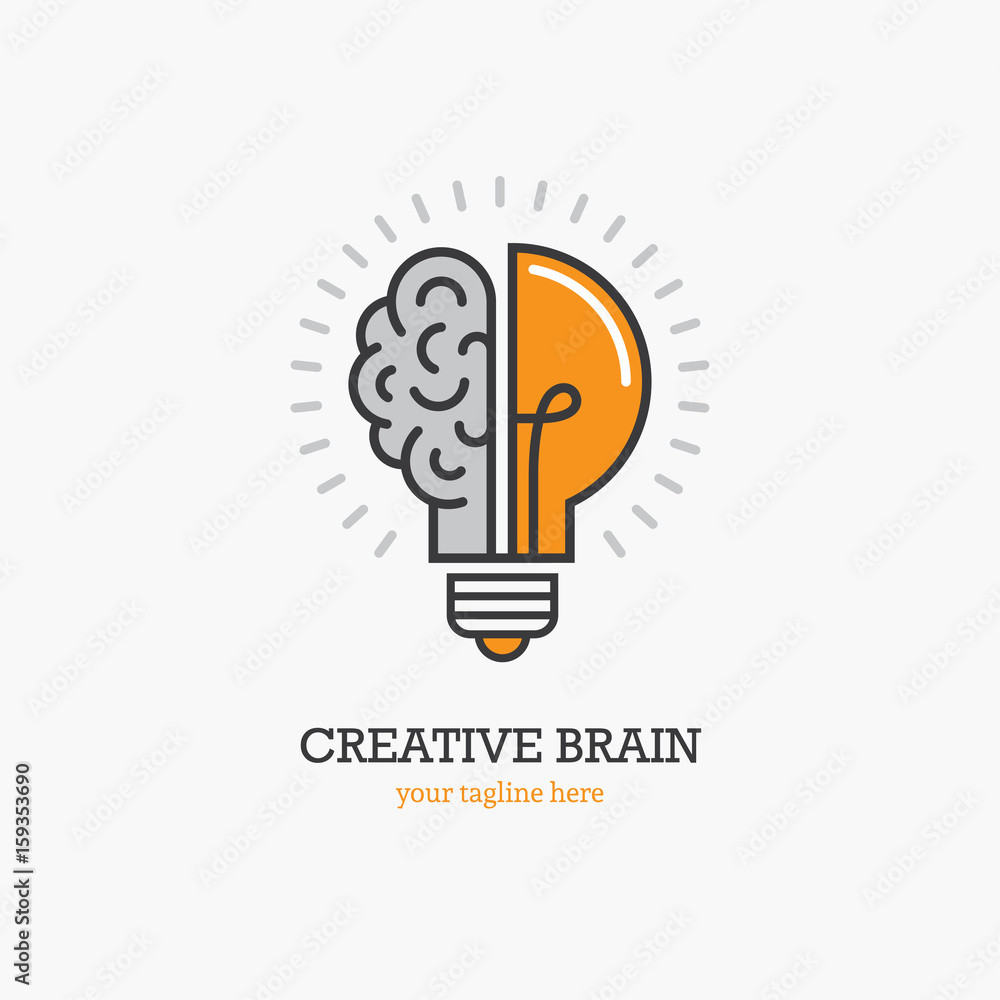 Photo  Logo with a half of light bulb and brain