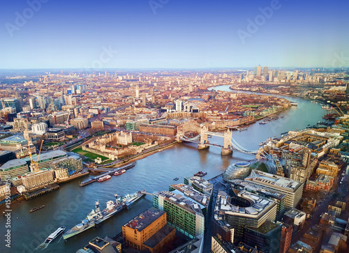 London city, aerial view, United Kingdom
