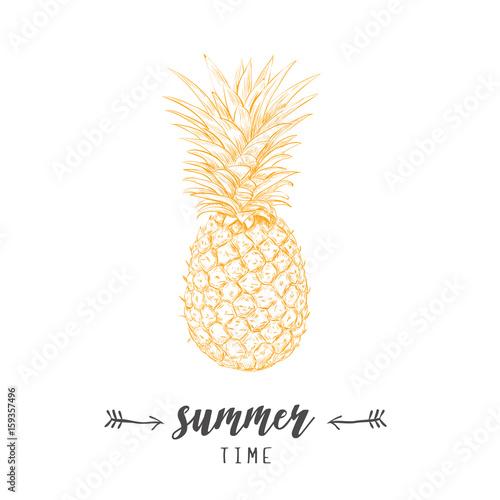 Pineapple yellow  skech. Letitering summer  Wall mural
