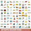 100 supply delivery icons set, flat style