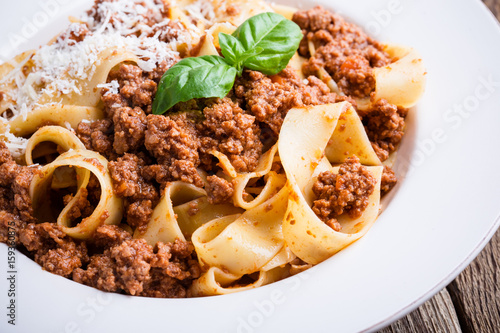 Homemade  traditional Italian pasta pappardelle bolognese Canvas Print