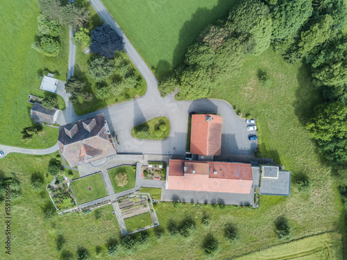 Foto op Canvas Olijf Aerial view of farm building
