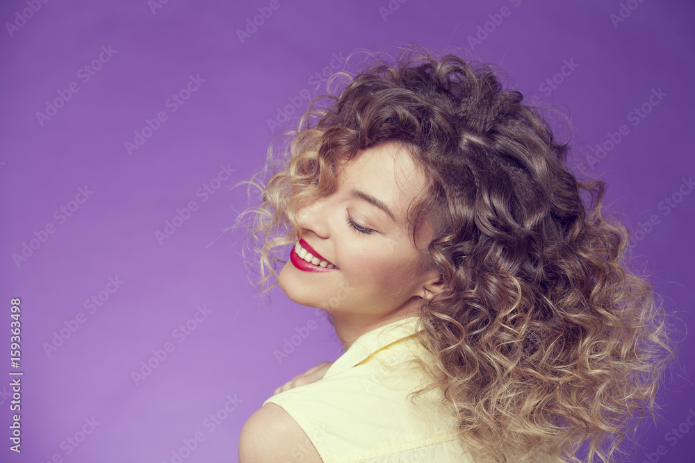 Fototapety, obrazy: beautiful curly girl with closed eyes