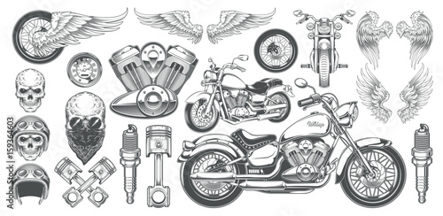 Set of vector illustrations, icons of hand-drawn vintage motorcycle in various angles, skulls, wings in the style of engraving Fototapete