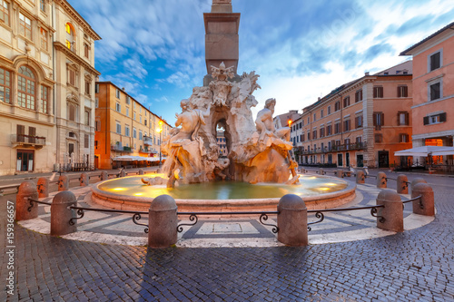Foto op Canvas Venice Fountain of the Four Rivers on the famous Piazza Navona Square during morning blue hour, Rome, Italy.