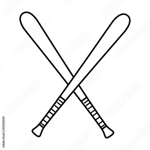 Baseball Bats Crossed Icon Over White Background Vector Illustration