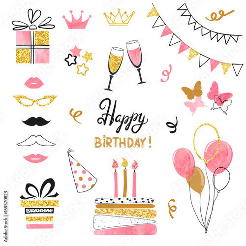 Obraz Birthday party icon set in pink, black and golden colors. Vector hand drawn illustration - fototapety do salonu