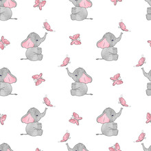 Seamless Pattern With Cute Ele...