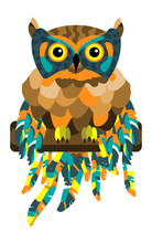 Colorful Owl With Detailed Fea...