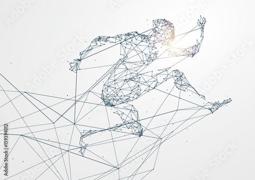 Działający mężczyzna, połączenie sieciowe obracający w, wektorowa ilustracja.