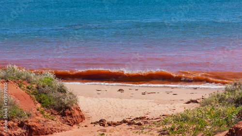 Fotografia Red waves breaking on beach at high tide at James Price Point, Kimberley, Wester