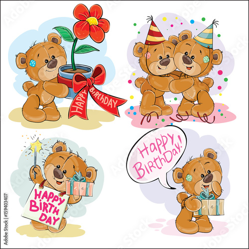 Set Of Vector Clip Art Illustrations Brown Teddy Bear Wishes You A Happy Birthday