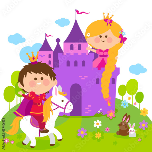 Foto op Aluminium Kasteel Rapunzel fairy tale princess at the castle and prince riding a horse.