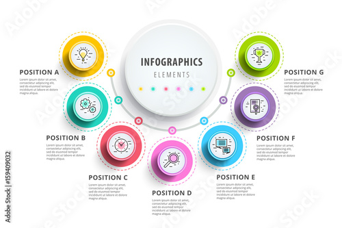 Photo  Business 7 step process chart infographics with step circles