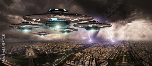 Fotografiet UFO invasionover planet earth city 3D rendering