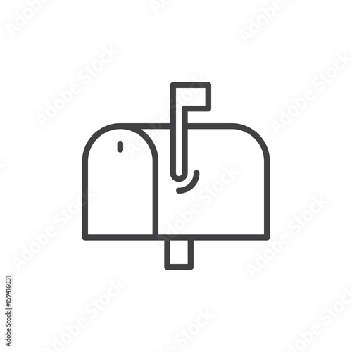 Fotografie, Obraz  Mailbox line icon, outline vector sign, linear style pictogram isolated on white