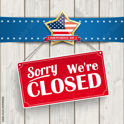 Independence Day Sign Closed Wood Golden Star Canvas-taulu