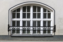 Large Arched Window On White W...