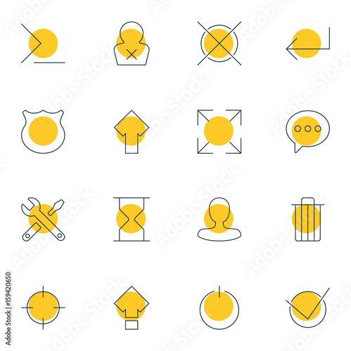 Vector Illustration Of 16 Interface Icons  Editable Pack Of