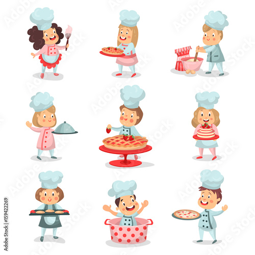 Printed kitchen splashbacks Illustrations Set of little cook chief kids cartoon characters cooking food and baking detailed colorful Illustrations