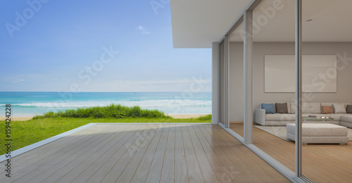 Stampa su Tela Sea view Living room with empty terrace in modern luxury beach house, Vacation h