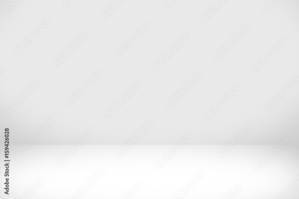 Fototapeta Abstract white background with white light and grey shadow : empty light interior with copy space for creative studio backdrop project.
