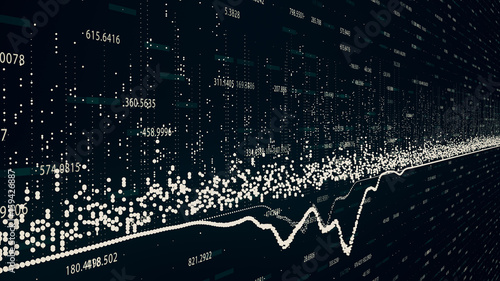 Fotografía  Abstract background with growing charts and flowing counters of numbers with symbols of percent and gain