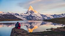 Romantic Couple At Sunrise, From Lake Stellisee, Swiss Alps , Matterhorn Peak, Zermatt, 2017