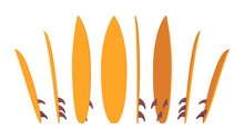 Surfboard Bright Set, Standing In Different Positions