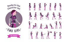 Ready-to-use Emo Girl Character Set, Various Poses And Emotions