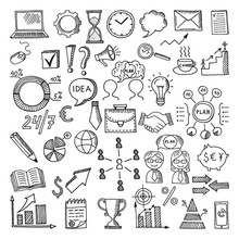 Hand Drawn Business Icon Set. ...