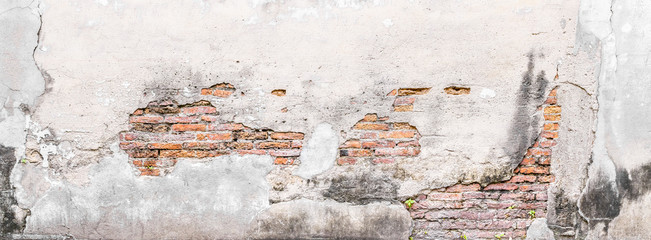 Vintage background, The old wall is show detail of brick in long time ago. Abstract wallpaper with vintage filter.