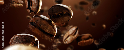 Fotoposter Koffiebonen coffee splash
