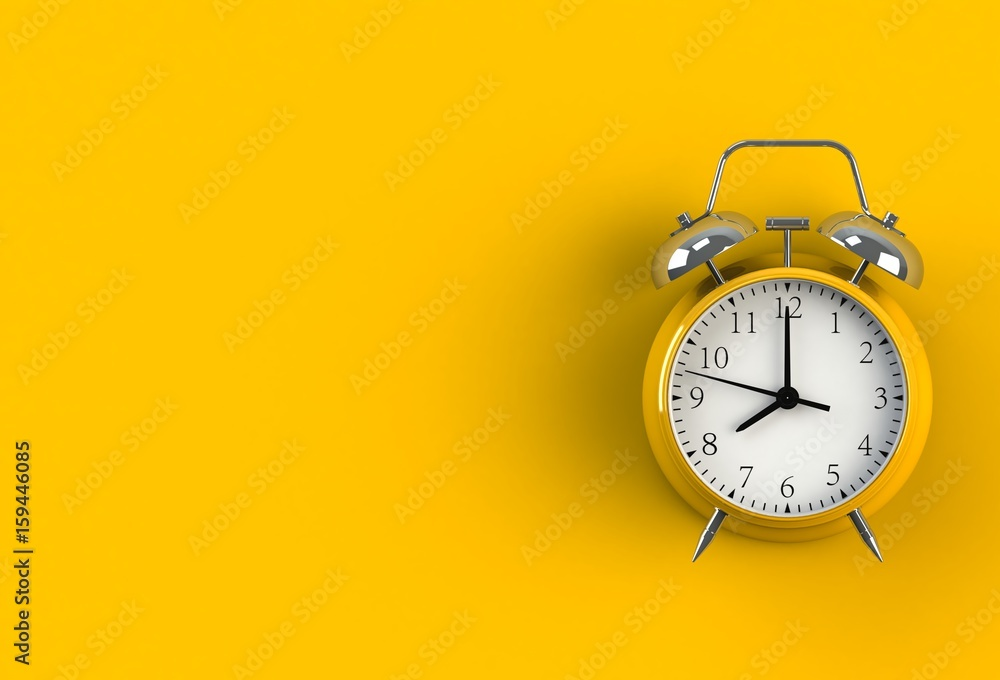 Fototapety, obrazy: Alarm clock on yellow background, 3D rendering