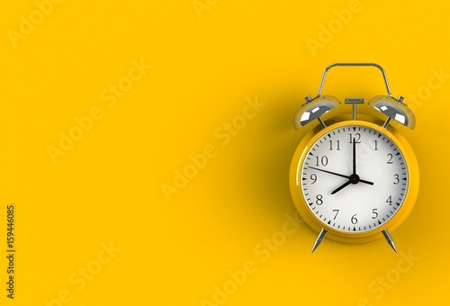 Alarm clock on yellow background, 3D rendering Canvas Print