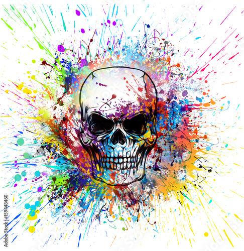 Рисованный симметричный череп с гранж красочным узором