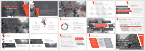 Fototapeta Red and gray elements of infographics on a white background. Use in presentation templates, flyer and leaflet, corporate report, marketing, advertising, annual report and banner. obraz