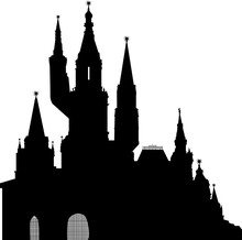 Castle Large Silhouette Isolated On White
