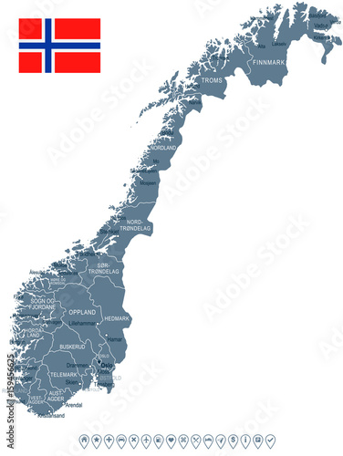 Obraz na plátně Norway - map and flag - illustration