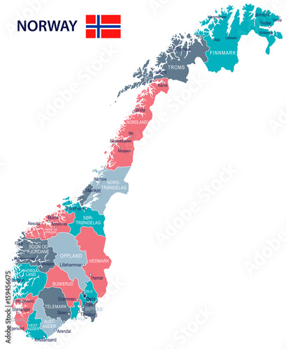 Fotografie, Tablou  Norway - map and flag - illustration