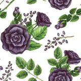 Seamless Pattern of Watercolor Bouquets with Purple Roses - 159457238