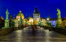 Night View Of Charles Bridge In Prague. Czech Republic