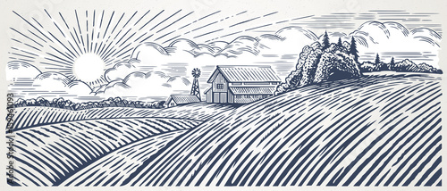 Blanc Rural landscape with a farm in engraving style. Hand drawn and converted to vector Illustration