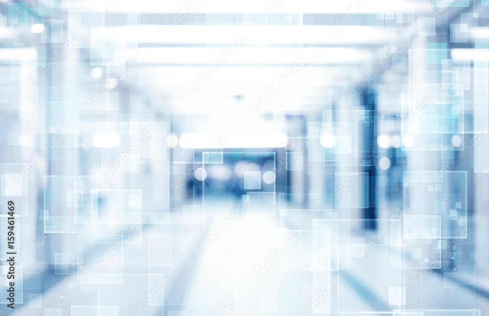 Fototapety, obrazy: abstract defocused blurred technology space background, empty business corridor or shopping mall. Medical and hospital corridor defocused background with modern laboratory (clinic)