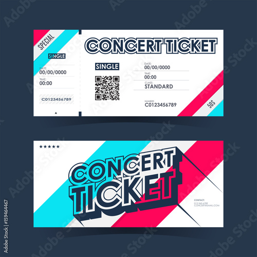 concert ticket card element template for design vector