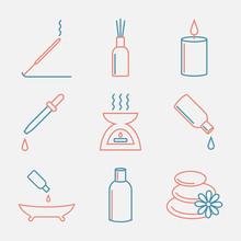 Aromatherapy Oils Icons Set. E...