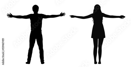 Valokuva  Black vector silhouettes of woman and man standing with spread arms isolated on