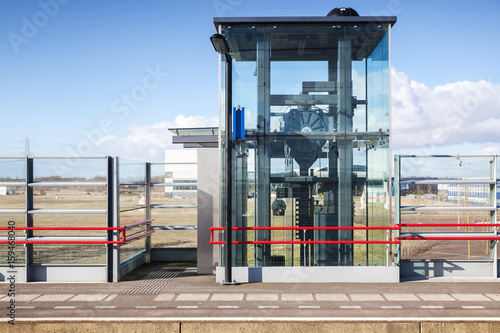Outdoor elevator on the railway platform